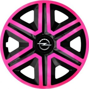 "Tapacubos para OPEL 15"", ACTION DOUBLECOLOR ROSA-NEGRO 4 pzs"