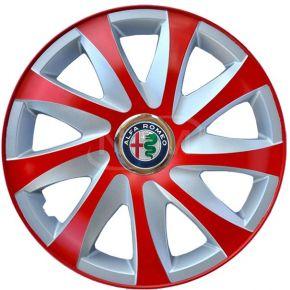 """Tapacubos para ALFA ROMEO 14"""", DRIFT EXTRA rojo-plata 4pzs"""