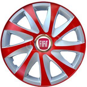 """Tapacubos para FIAT 15"""", DRIFT EXTRA rojo-plata 4pzs"""