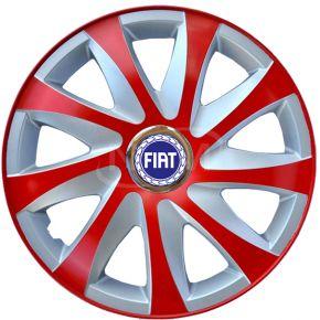 """Tapacubos para FIAT 14"""", DRIFT EXTRA rojo-plata 4pzs"""