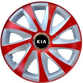 """Tapacubos para KIA 15"""", DRIFT EXTRA rojo-plata 4pzs"""