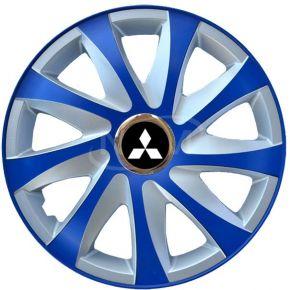"""Tapacubos para MITSUBISHI 14"""", DRIFT EXTRA azul-plata  4pzs"""