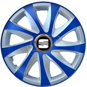 "Tapacubos para SEAT 15"", DRIFT EXTRA azul-plata  4pzs"