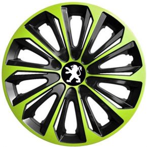 "Tapacubos para PEUGEOT 15"", STRONG DUOCOLOR VERDE-BLANCO 4 pzs"