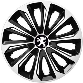 """Tapacubos para PEUGEOT 16"""", STRONG DUOCOLOR NEGRO-BLANCO 4 pzs"""